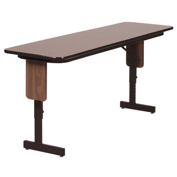 "Correll SPA1896PX01 18"" x 96"" Walnut Adjustable Height Panel Leg Folding Seminar Table"