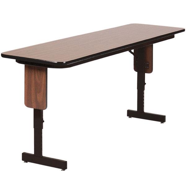 "Correll SPA2496PX01 24"" x 96"" Walnut Adjustable Height Panel Leg Folding Seminar Table"