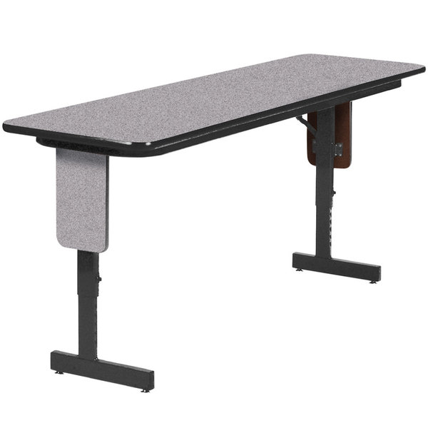 "Correll SPA2496PX15 24"" x 96"" Gray Granite Adjustable Height Panel Leg Folding Seminar Table"