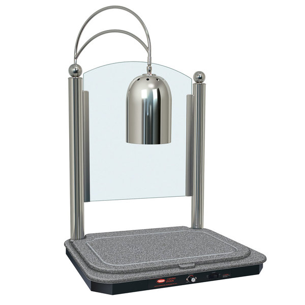 Hatco DCSB400-2420-1 Single Lamp Decorative Carving Station with Granite Gray-Colored Heated Base and Bright Nickel Finish - 120V, 750W
