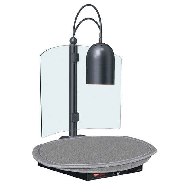 Hatco DCSB400-R24-1 Single Lamp Decorative Carving Station with Granite Gray-Colored Round Heated Base and Antique Bronze Trim - 120V, 600W