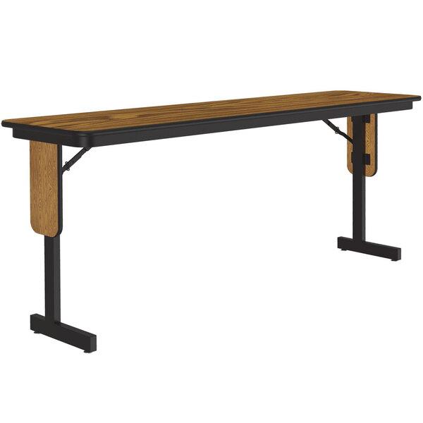 "Correll SPA1896PX06 18"" x 96"" Medium Oak Adjustable Height Panel Leg Folding Seminar Table Main Image 1"