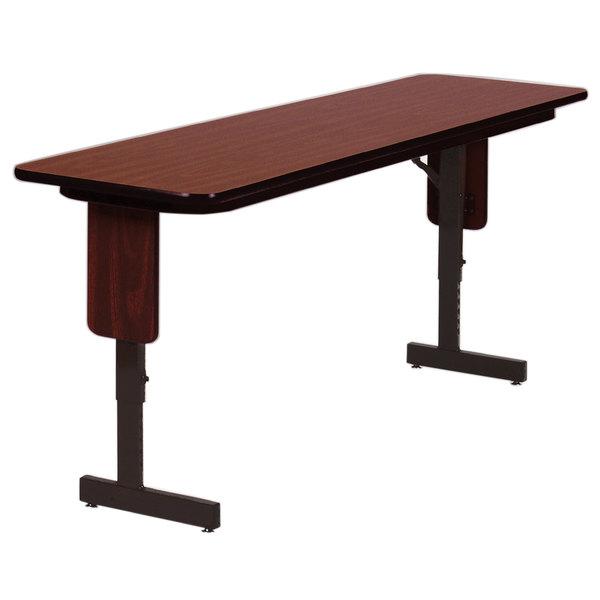 "Correll SPA1896PX06 18"" x 96"" Medium Oak Adjustable Height Panel Leg Folding Seminar Table"