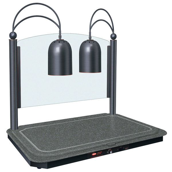 Hatco DCSB400-3624-2 Dual Lamp Decorative Carving Station with Night Sky-Colored Heated Base and Antique Bronze Trim - 120V, 1300W Main Image 1