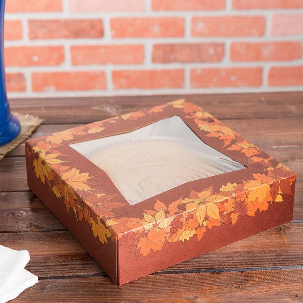 "Southern Champion 2462 9"" x 9"" x 2 1/2"" Rustic Orange Window Pie / Bakery Box with Autumn Design - 150/Bundle"