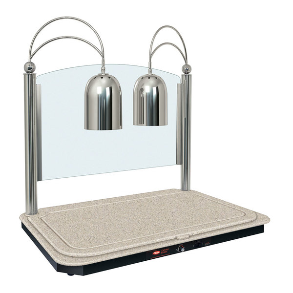 Hatco DCSB400-3624-2 Dual Lamp Decorative Carving Station with Bermuda Sand-Colored Heated Base and Bright Nickel Finish - 120V, 1300W