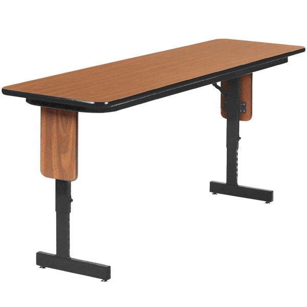 "Correll SPA1860PX06 18"" x 60"" Medium Oak Adjustable Height Panel Leg Folding Seminar Table Main Image 1"