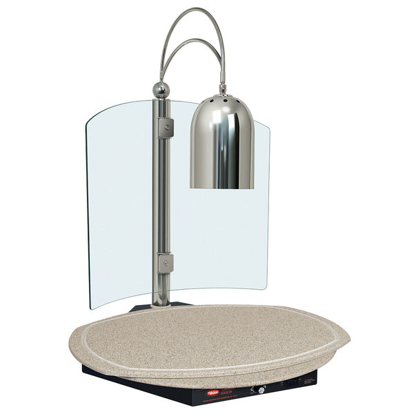 Hatco DCSB400-R24-1 Single Lamp Decorative Carving Station with Bermuda Sand-Colored Round Heated Base and Bright Nickel Finish - 120V, 600W