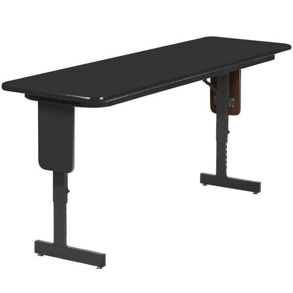 "Correll SPA2496PX07 24"" x 96"" Black Granite Adjustable Height Panel Leg Folding Seminar Table"
