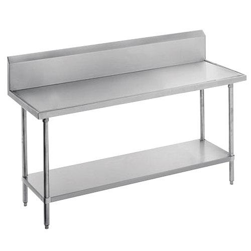 "Advance Tabco VKS-300 Spec Line 30"" x 30"" 14 Gauge Work Table with Stainless Steel Undershelf and 10"" Backsplash"
