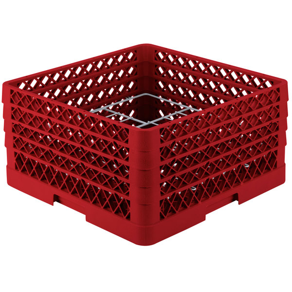 """Vollrath PM1211-4 Traex® Plate Crate Red 12 Compartment Plate Rack - Holds 8 3/4"""" to 9 3/16"""" Plates"""