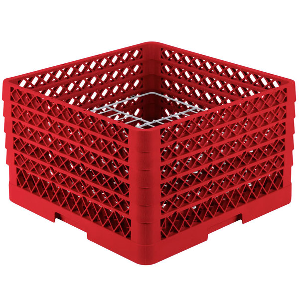 """Vollrath PM2011-5 Traex® Plate Crate Red 20 Compartment Plate Rack - Holds 10"""" to 10 3/4"""" Plates"""