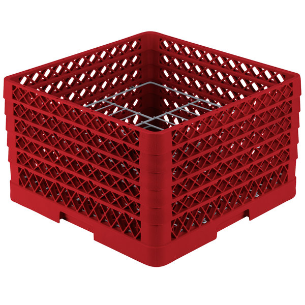 """Vollrath PM1510-5 Traex® Plate Crate Red 15 Compartment Plate Rack - Holds 9"""" to 10 3/4"""" Plates"""
