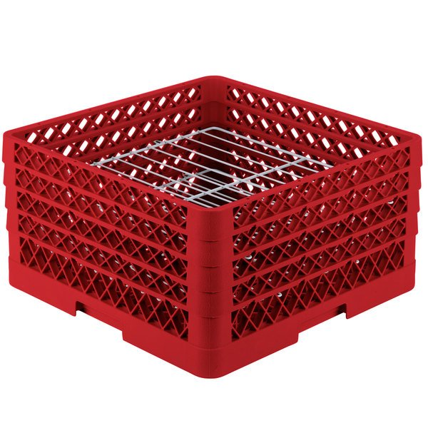 """Vollrath PM2209-3 Traex® Plate Crate Red 22 Compartment Plate Rack - Holds 7"""" to 7 7/8"""" Plates Main Image 1"""