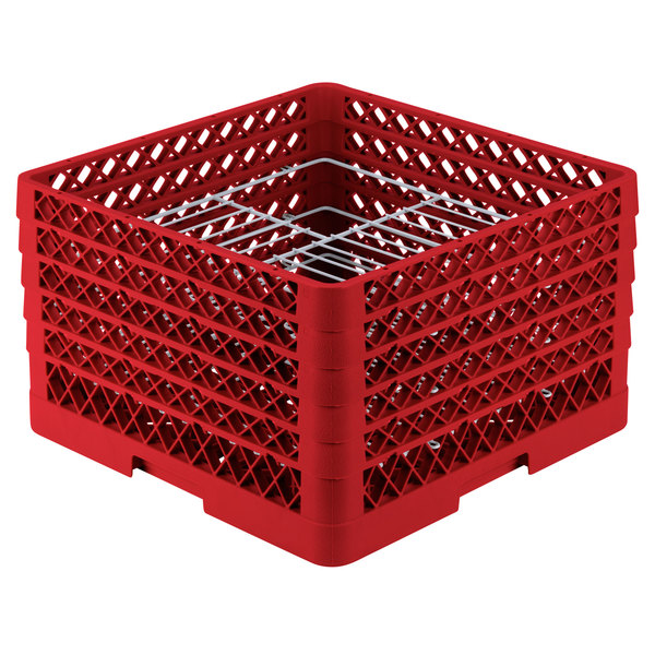 "Vollrath PM2110-5 Traex® Plate Crate Red 21 Compartment Plate Rack - Holds 9 3/16"" to 10"" Plates"