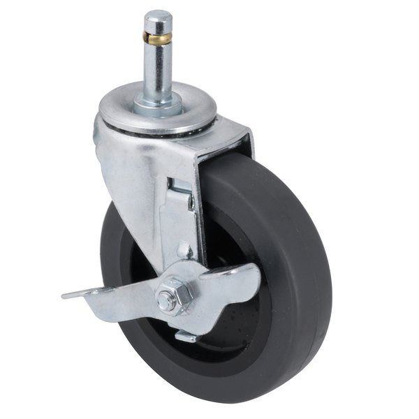 """Carlisle SBCC24500 Equivalent Fold 'N Go Cart 4"""" Replacement Swivel Caster with Brake Main Image 1"""