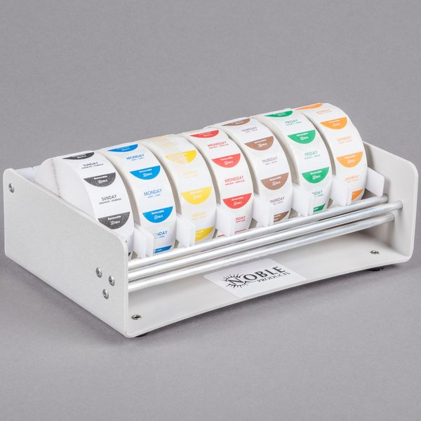 "Noble Products Elevated 7-Slot Dispenser with 7 Removable 1"" Day of the Week Label Rolls"