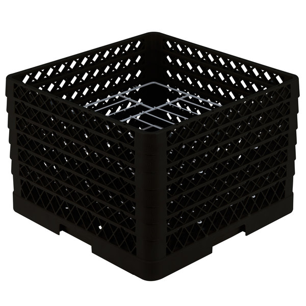 """Vollrath PM1412-6 Traex® Plate Crate Black 14 Compartment Plate Rack - Holds 10 3/4"""" to 12 5/16"""" Plates"""