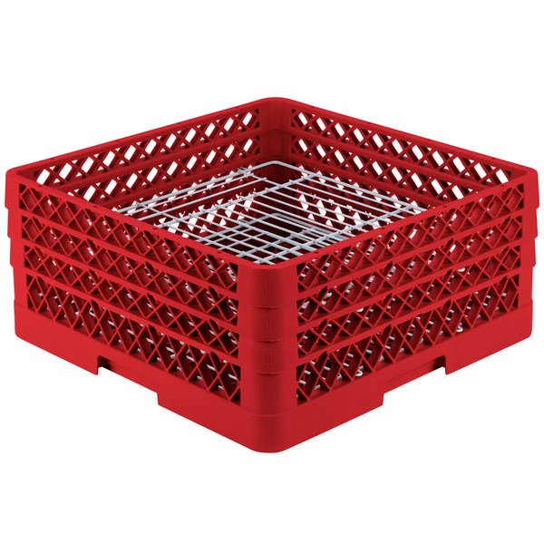 "Vollrath PM4407-3 Traex® Plate Crate Red 44 Compartment Plate Rack - Holds 6"" to 7"" Plates"