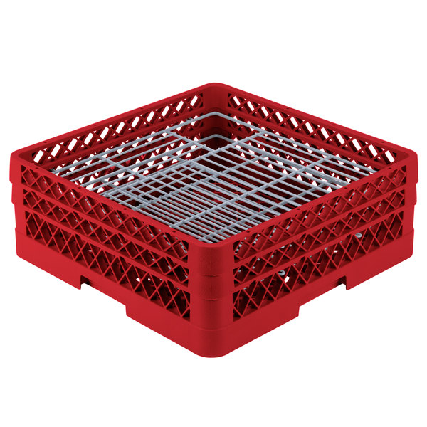 """Vollrath PM4806-2 Traex® Plate Crate Red 48 Compartment Plate Rack - Holds 5"""" to 6"""" Plates"""