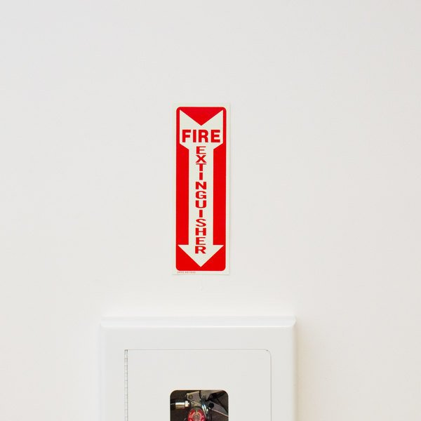 """Buckeye Glow-In-The-Dark Fire Extinguisher Adhesive Label - Red and White, 12"""" x 4"""""""