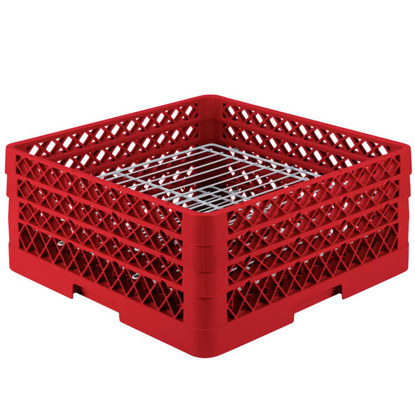 """Vollrath PM3208-3 Traex® Plate Crate Red 32 Compartment Plate Rack - Holds 4 3/4"""" to 7 5/8"""" Plates"""