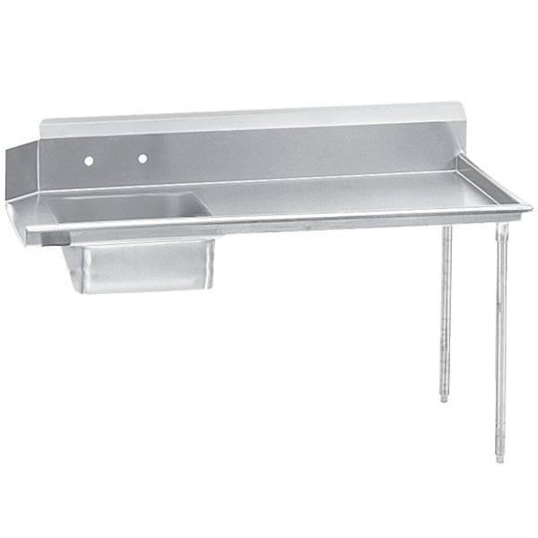 Right Drainboard Advance Tabco DTS-S60-60 Super Saver 5' Stainless Steel Soil Straight Dishtable