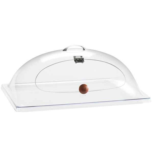 """Cal-Mil 367-12 Classic Clear Dome Display Cover with Single Middle Opening and Door - 12"""" x 20"""" x 7 1/2"""""""