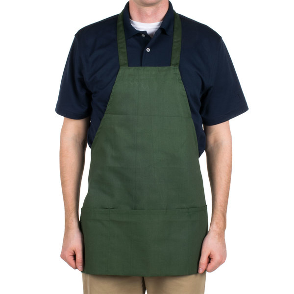"""Hunter Green Full Length Front of House Bib Apron with 3 Pockets - 25""""L x 28""""W"""