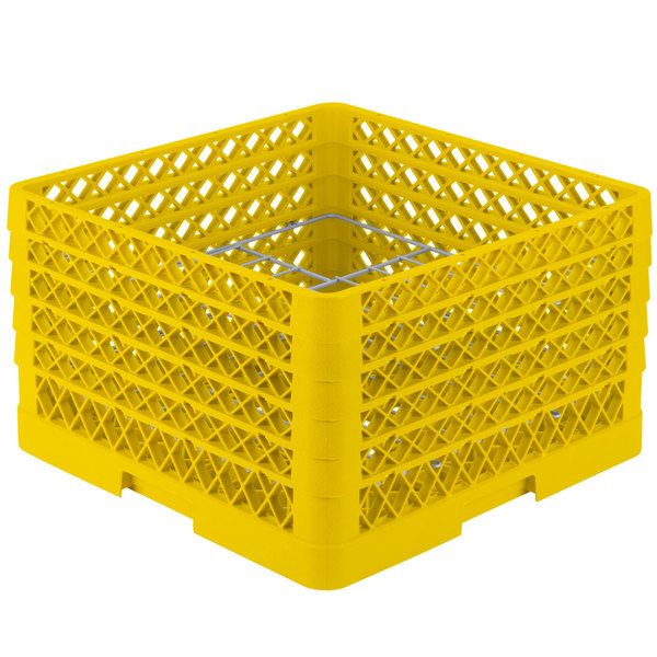 "Vollrath PM1211-5 Traex® Plate Crate Yellow 12 Compartment Plate Rack - Holds 9 3/16"" to 10 3/4"" Plates"