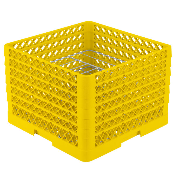 """Vollrath PM0912-6 Traex® Plate Crate Yellow 9 Compartment Plate Rack - Holds 11 1/4"""" to 12 1/2"""" Plates Main Image 1"""