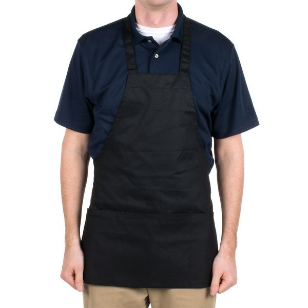 "Black Full Length Front of House Bib Apron with 3 Pockets - 25""L x 28""W"