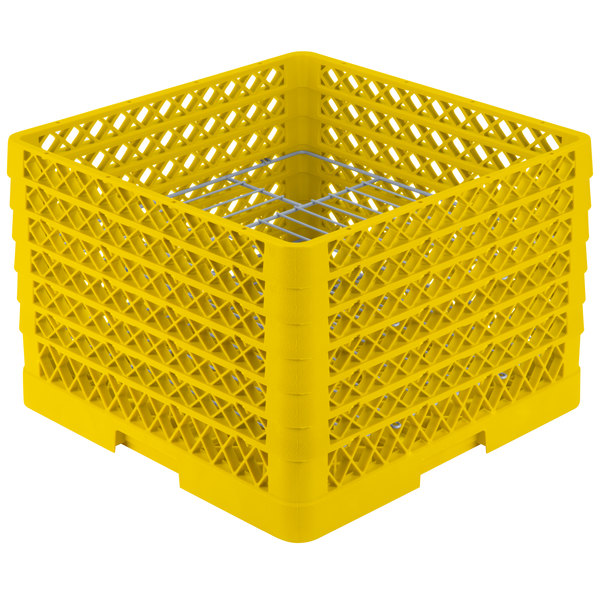 """Vollrath PM1912-6 Traex® Plate Crate Yellow 19 Compartment Plate Rack - Holds 11"""" to 12"""" Plates"""