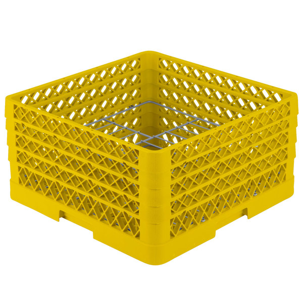 """Vollrath PM1510-4 Traex® Plate Crate Yellow 15 Compartment Plate Rack - Holds 8 3/4"""" to 9 3/16"""" Plates"""