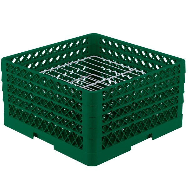 """Vollrath PM2209-3 Traex® Plate Crate Green 22 Compartment Plate Rack - Holds 7"""" to 7 7/8"""" Plates"""