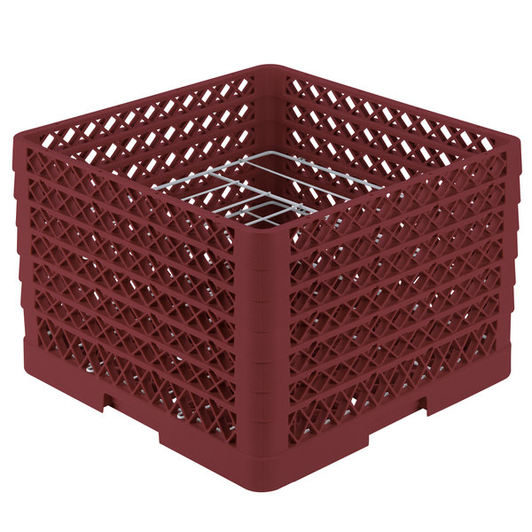 """Vollrath PM0912-6 Traex® Plate Crate Burgundy 9 Compartment Plate Rack - Holds 11 1/4"""" to 12 1/2"""" Plates"""