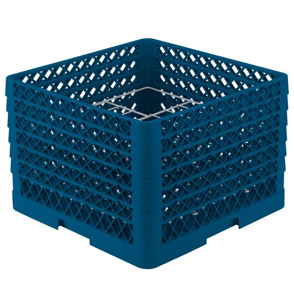 "Vollrath PM1211-6 Traex® Plate Crate Royal Blue 12 Compartment Plate Rack - Holds 10 3/4"" to 11 3/16"" Plates"