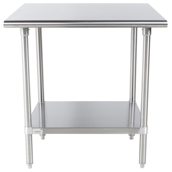 """Advance Tabco Premium Series SS-303 30"""" x 36"""" 14 Gauge Stainless Steel Commercial Work Table with Undershelf"""