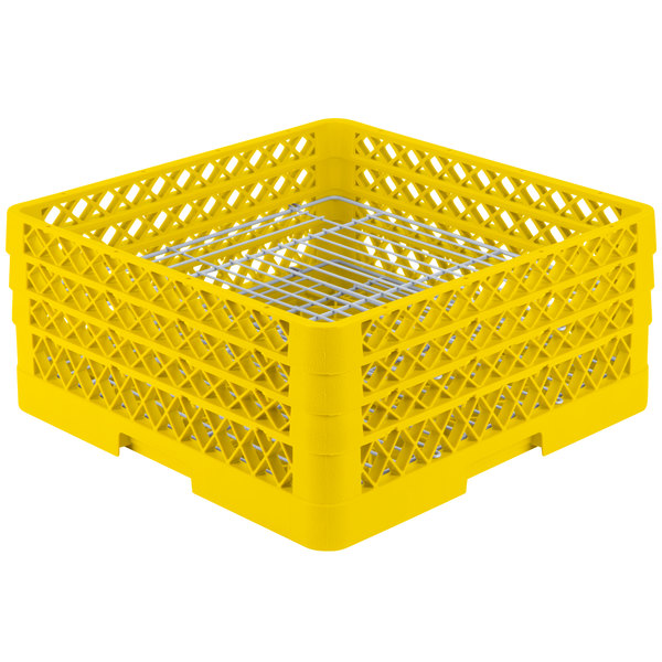 "Vollrath PM4407-3 Traex® Plate Crate Yellow 44 Compartment Plate Rack - Holds 6"" to 7"" Plates"