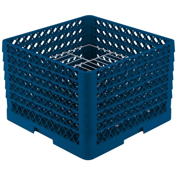 "Vollrath PM1912-6 Traex® Plate Crate Royal Blue 19 Compartment Plate Rack - Holds 11"" to 12"" Plates"