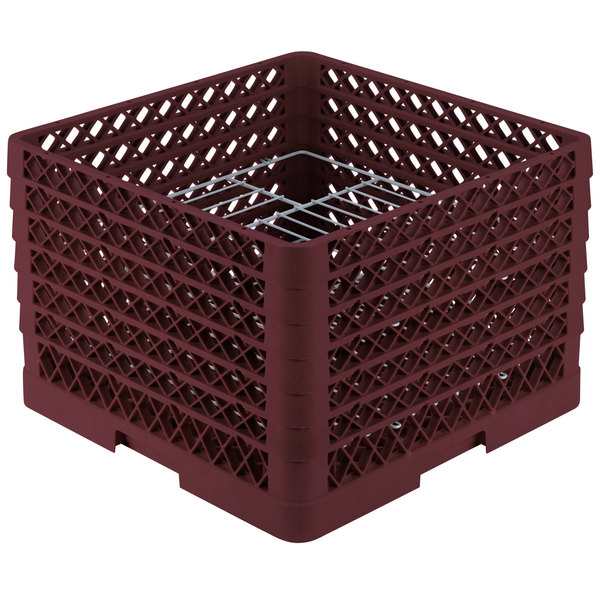 """Vollrath PM1912-6 Traex® Plate Crate Burgundy 19 Compartment Plate Rack - Holds 11"""" to 12"""" Plates"""