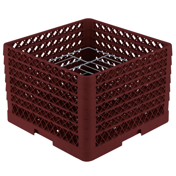 """Vollrath PM1412-6 Traex® Plate Crate Burgundy 14 Compartment Plate Rack - Holds 10 3/4"""" to 12 5/16"""" Plates"""