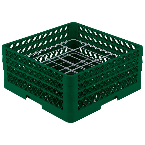 """Vollrath PM2006-3 Traex® Plate Crate Green 20 Compartment Plate Rack - Holds 4 3/4"""" to 6 1/2"""" Plates"""