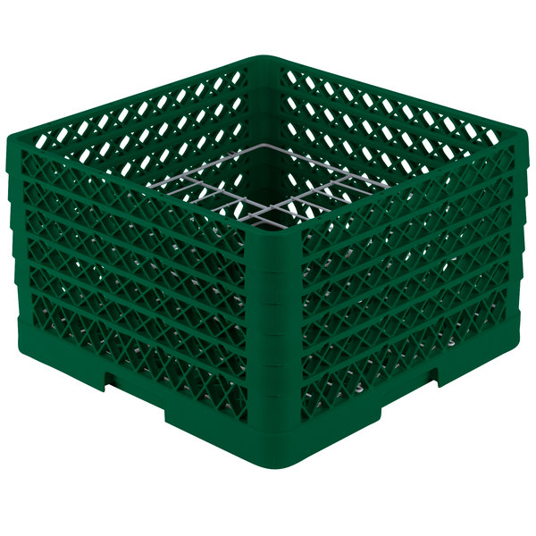 "Vollrath PM1510-5 Traex® Plate Crate Green 15 Compartment Plate Rack - Holds 9"" to 10 3/4"" Plates"