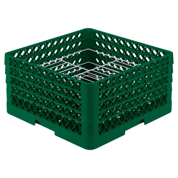 "Vollrath PM2110-4 Traex® Plate Crate Green 21 Compartment Plate Rack - Holds 8 3/4"" to 9 3/16"" Plates"