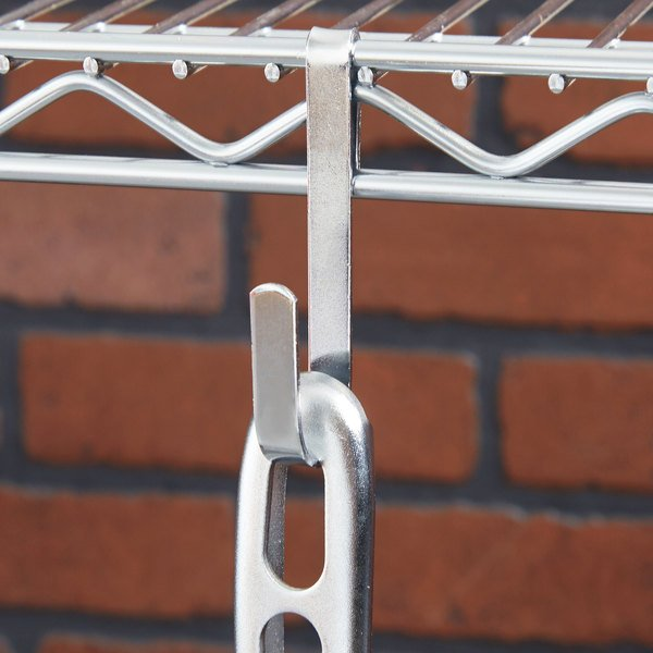 """Regency 1 1/4"""" x 3 3/8"""" Small Chrome Snap-On J-Hook for Wire Shelving"""