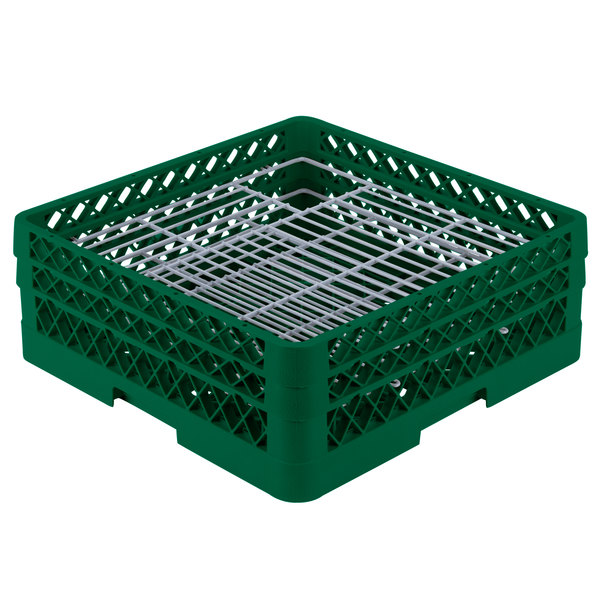 """Vollrath PM4806-2 Traex® Plate Crate Green 48 Compartment Plate Rack - Holds 5"""" to 6"""" Plates"""