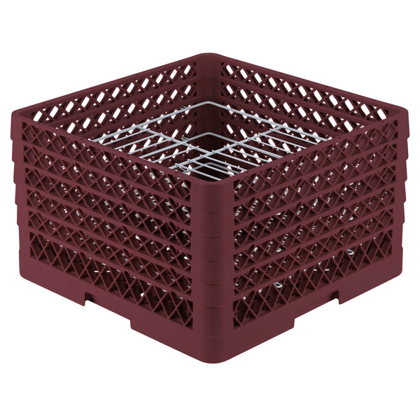 "Vollrath PM2110-5 Traex® Plate Crate Burgundy 21 Compartment Plate Rack - Holds 9 3/16"" to 10"" Plates"