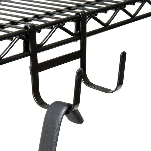"Regency 3 3/8"" x 3 1/2"" Large Black Double Snap-On J-Hook for Wire Shelving"