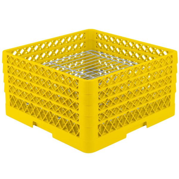 "Vollrath PM3208-4 Traex® Plate Crate Yellow 32 Compartment Plate Rack - Holds 7 5/8"" to 8"" Plates"